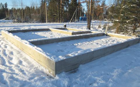 Фундамент под баню, возведён в коттеджном посёлке Савоя, недалеко от деревни Касимово Всеволожского района
