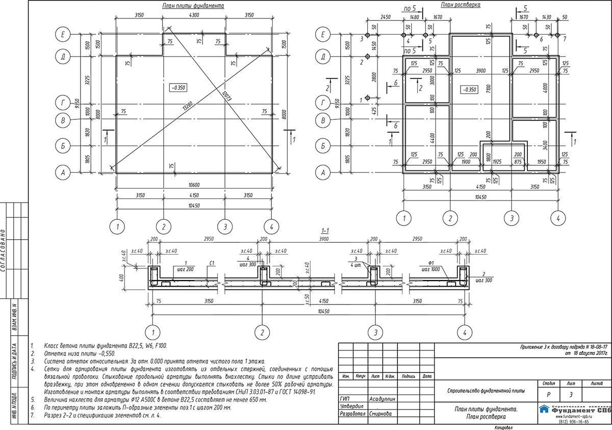 Пример проекта фундамента от строительной компании «Фундамент-СПб», лист с планом плиты и планом ростверка.