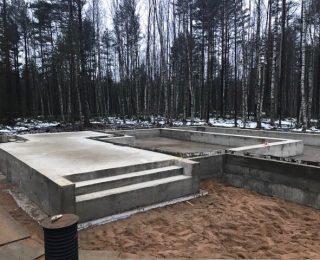 Белоостров — монолитные плиты с ростверком под дом из газобетона и гараж