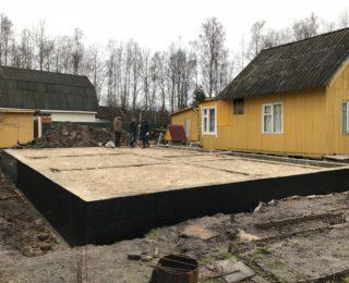 пос . Синявино - ленточный фундамент под дом из оцилиндрованного бревна