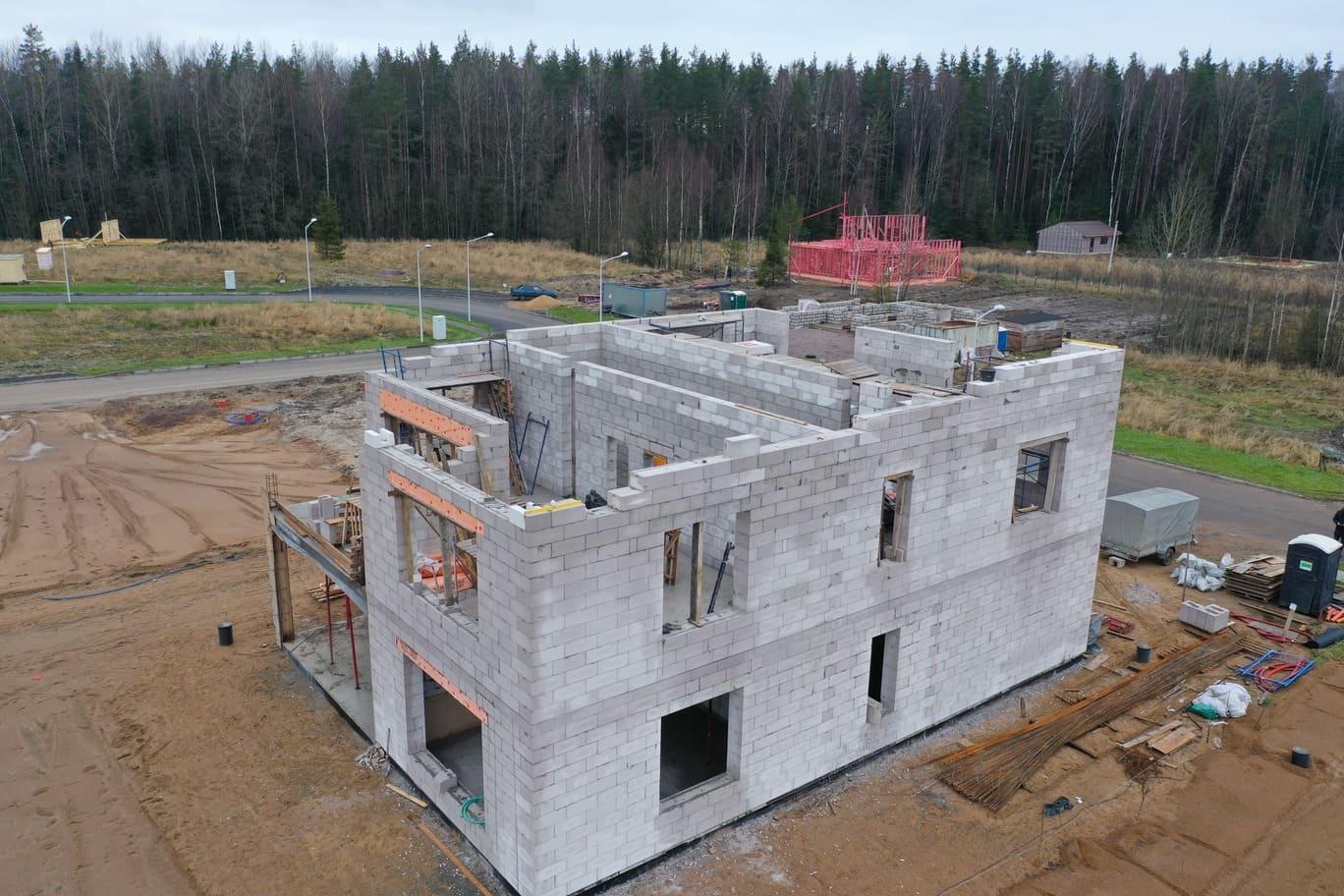 строительство 2х этажного дома из газобетона